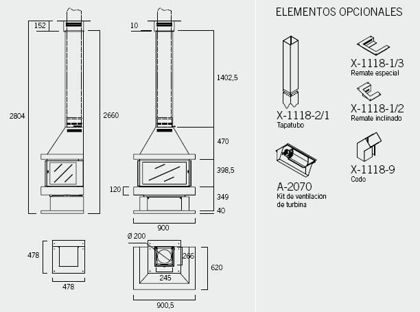 Chimenea metálica Rocal Barbara-90 Frontal con 3 puertas esquema y datos tecnicos