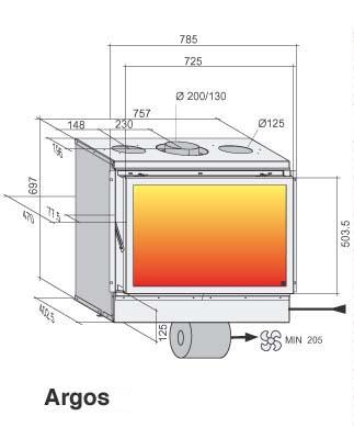 Chimenea Gas Bodart&Gonay Argos In Fire esquema del aparato