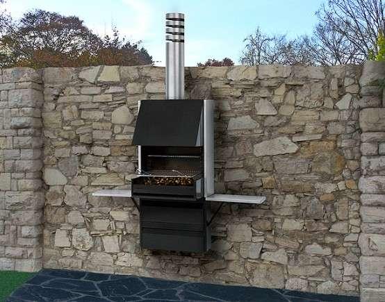 Barbacoa plegable Plek 66 - Vista instalada en muro