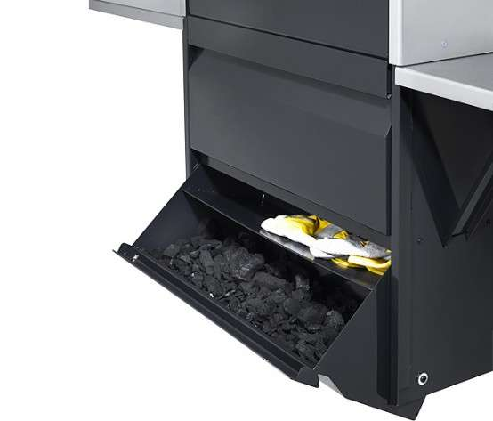 Barbacoa plegable Plek 66 - Vista cajonera porta carbón y utensilios