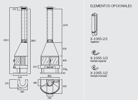 Chimenea Rocal Aitana Frontal - Esquema, medidas y elementos opcionales