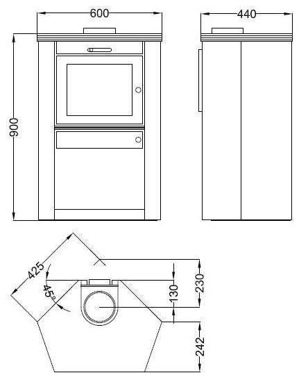 Estufa Hergom Aresta 400 - croquis y dimensiones