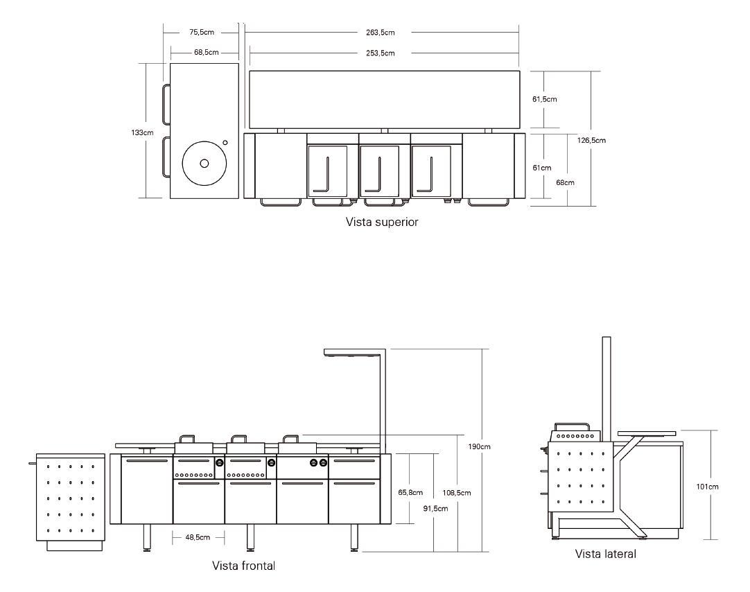 Barbacoa Fuego Iberica Modular - esquema y medidas