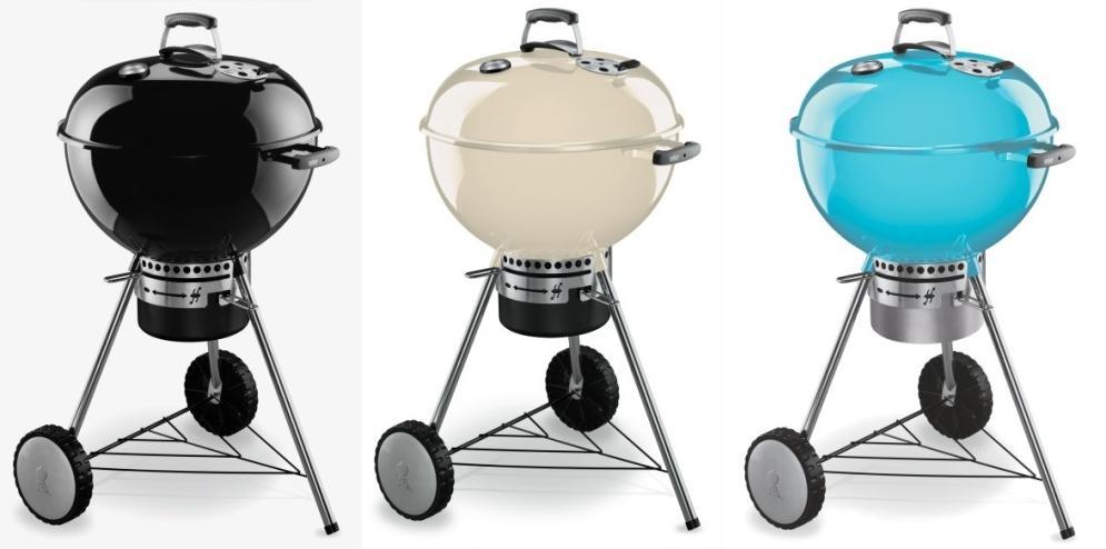 En colores negro, beige y azulón la Barbacoa Weber One Touch Premium 57