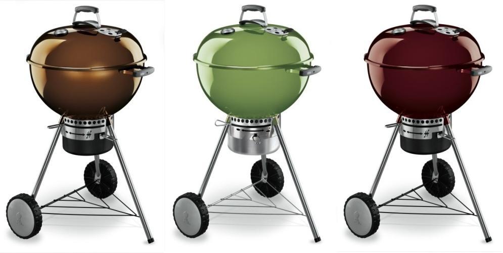 En colores marrón, verde manzana y rojizo la Barbacoa Weber One Touch Premium 57