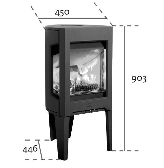 Dimensiones y medidas de la Estufa Jotul F-163 Negro Mate