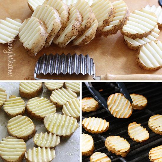 Proceso para cortar y cocinar Patatas fritas crujientes en la barbacoa