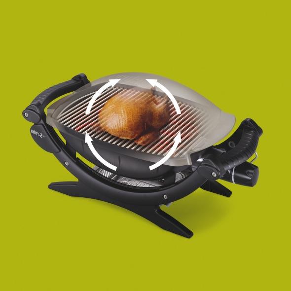 Modo de asado indirecto especial para aves de la Barbacoa Weber Electrica Q240