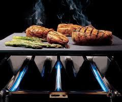 barbacoa a gas cocinado carne