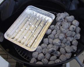 Barbacoa de carbón creación de zona para Cocinar con calor indirecto