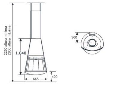 Esquema y medidas de la Chimenea metalica Hergom Creta