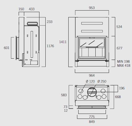 Esquema y medidas del Hogar Rocal G-35F
