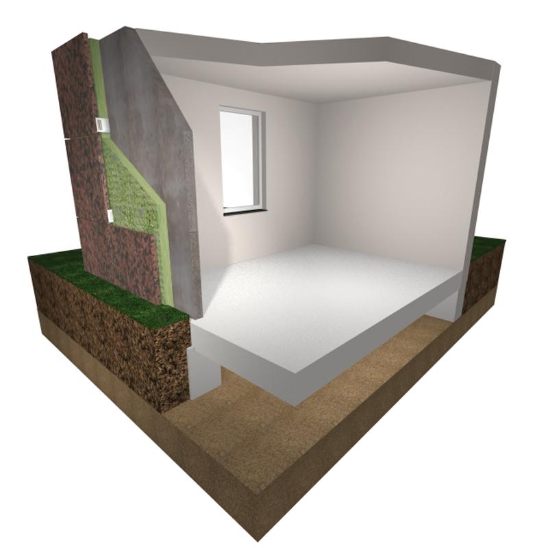 Aislamiento de muros: Esquema de lo que consiste el procedimiento