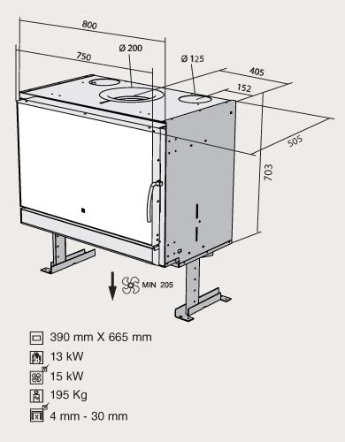 Esquema y dimensiones del Casete Bodart-Gonay Optifire 800