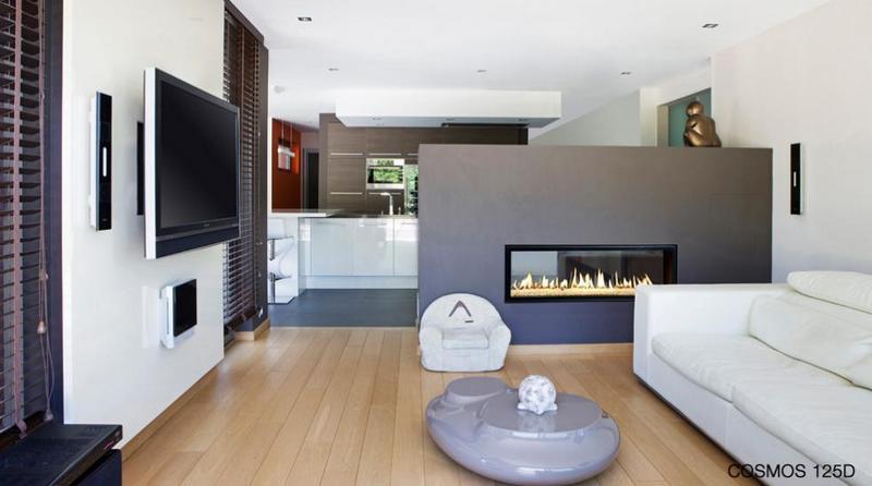 Salón con Chimenea Gas Bodart-Gonay Cosmos 125 Doble Cara instalada creando dos espacios