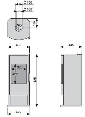 Dimensiones y esquema de la Estufa Gas Faber Vaska