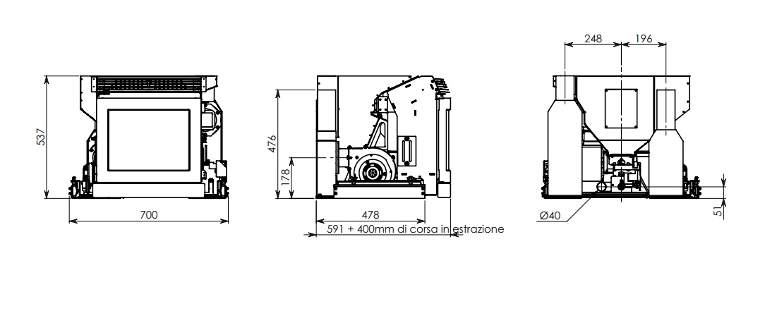 Casete Pellet Ecoteck Rc1000 esquema y medidas