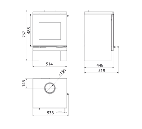 Estufa Hergom Frama S esquema y dimensiones