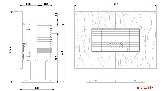 Esquema y medidas de la Estufa Invicta Gaya Ardoise