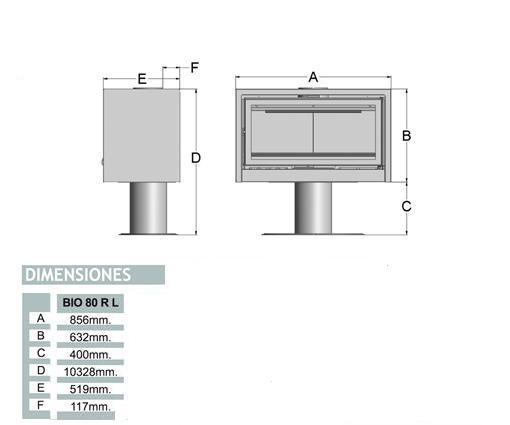 Esquema y medidas del Casete Tnc Bio 80 RL