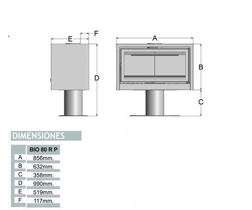 Esquema y medidas del Casete Tnc Bio 80 RP