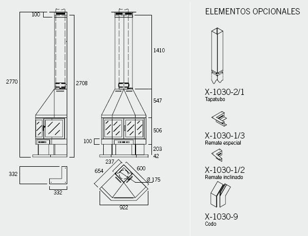 Medidas y esquema de la Chimenea Rocal modelo ELBIA