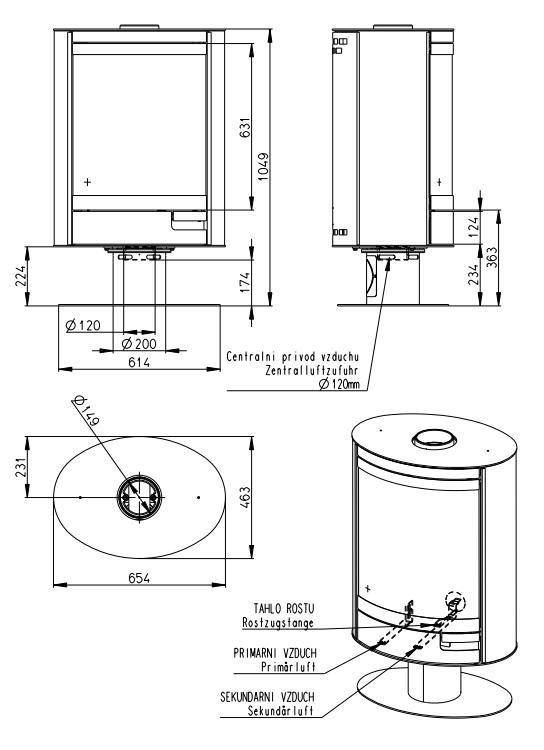 Esquema y medidas de la Estufa Romotop Stromboli Metalica