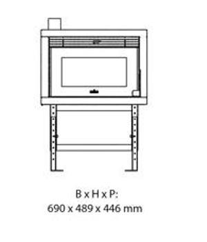 Esquema y dimensiones del Casete Pellet Ecoteck R1000
