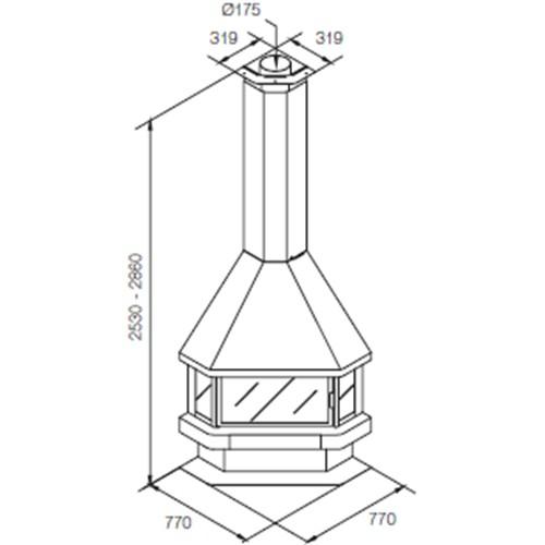 Medidas y esquema de la Chimenea Llar Calor Ll-20 Rincon