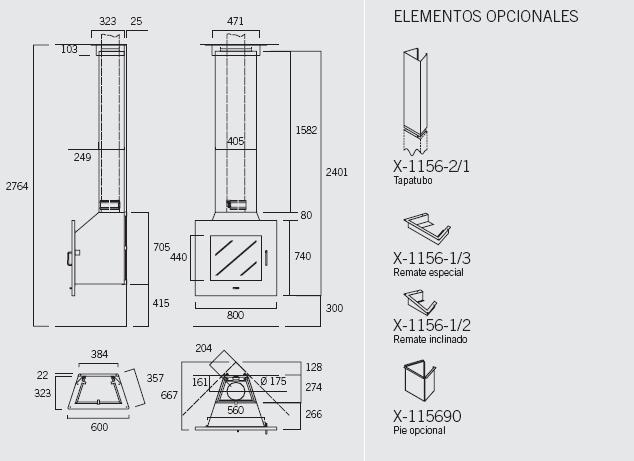 Chimenea Rocal D-4 80 Frontal esquema