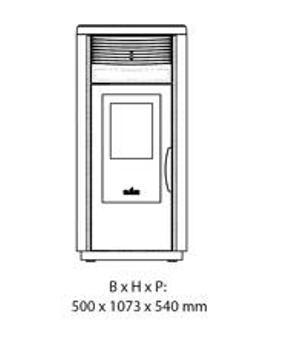 Esquema y medidas de la Estufa Pellet Ecoteck Rc 120
