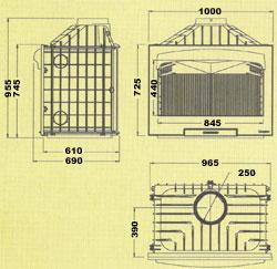 Esquema y medidas de la Barbacoa Asador Hergom H-04