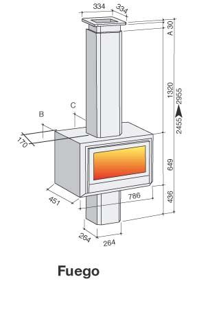 Esquema y medidas de la Casete Bodart-Gonay Fuego 743