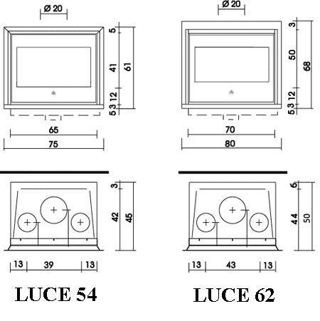 Esquema y medidas de la Casete Edilkamin Luce Plus 62