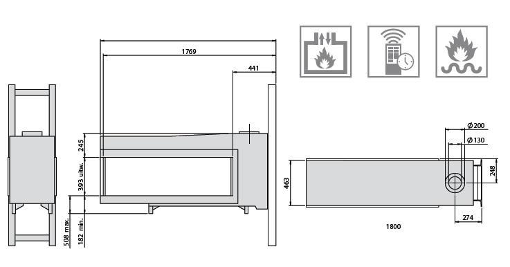 Esquema y medidas de la Chimenea Gas Faber Aspect Xl St