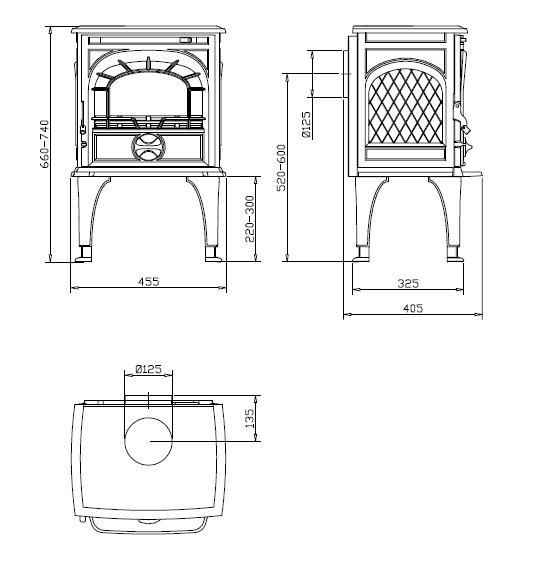 Medidas y esquema de la Estufa Dovre 250 Cb 2