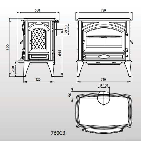 Esquema y medidas de la Estufa Dovre 760 Cb