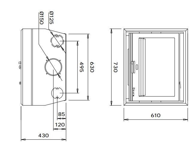 Esquema y medidas de la casete Dovre 2510 S