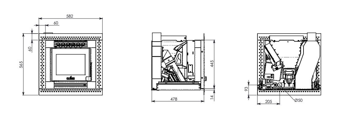 Esquema y medidas de la Casete Pellet Ecoteck 500