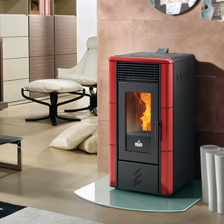 Estufa Pellet Ecoteck Lisa Plus en color rojo