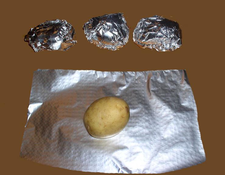 Preparación de la Recetas barbacoa Patatas asadas en papillote