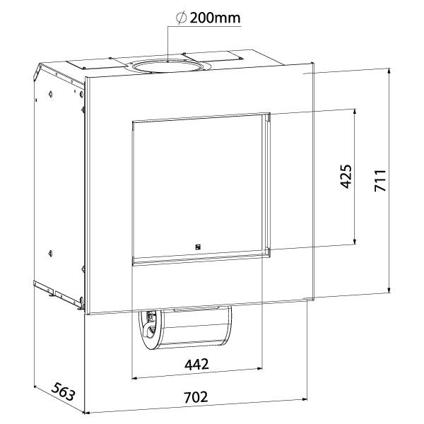 Esquema y medidas de la Casete Bodart-Gonay Sd 442 en dormitorio