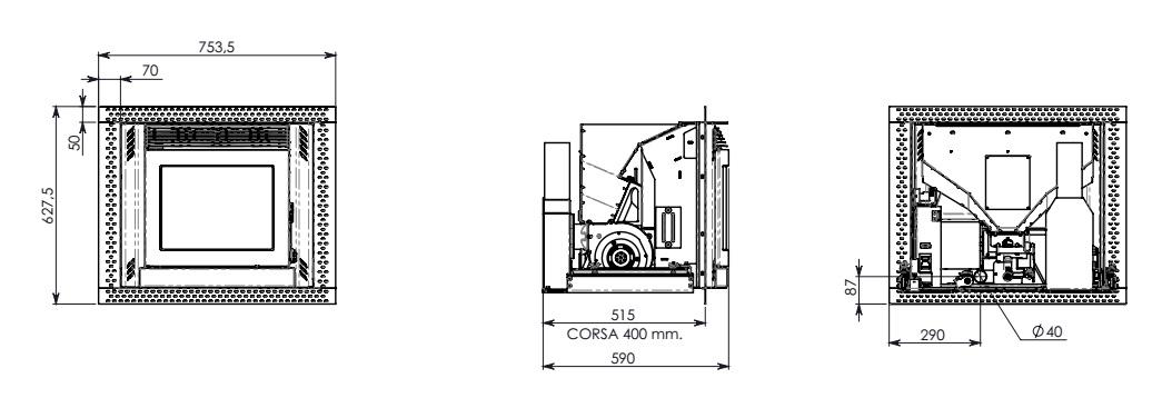 Esquema y medidas de la Casete Pellet Ecoteck 700