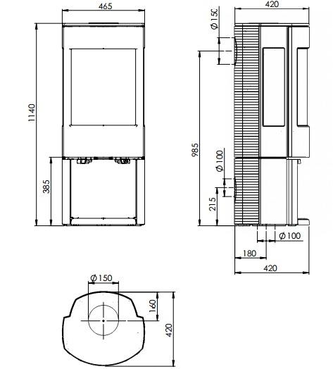 Esquema y medidas de la Estufa Dovre Astroline 4 con leñero