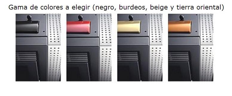 Estufa Pellet Ecoteck Snella gama de colores disponibles