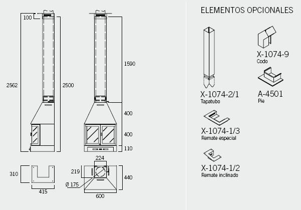 Esquema y medidas de la Chimenea Rocal Alba 60 Frontal