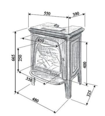 Medidas y esquema de la Estufa Hergom E 20 N Pintada