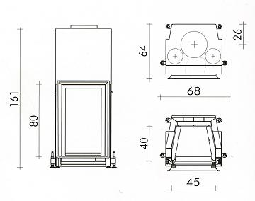 Esquema y medidas del Hogar Edilkamin Cristal 45 N