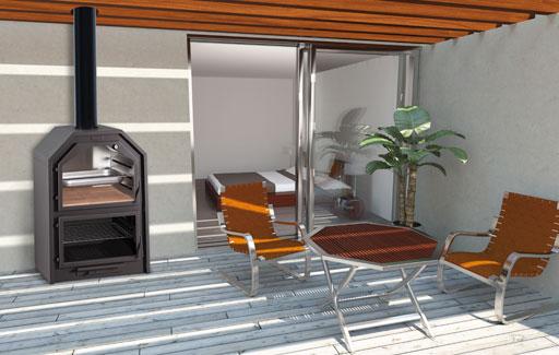 Horno Ferlux Forno 60 Visto instalado en terraza