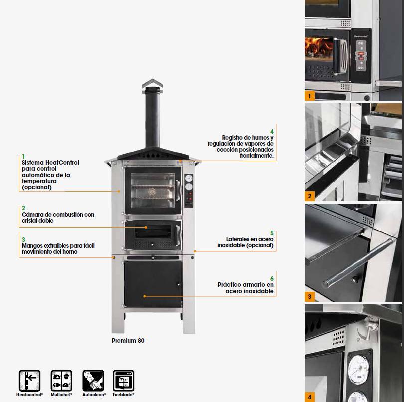 Horno Mcz Premium 60 Exterior vista de elementos clave y diferenciadores
